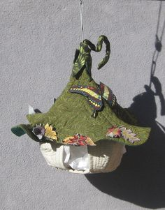 Quilted Fabric Hanging Fairy House by tribeofthefaefolk on Etsy