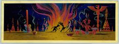 Mary Blair, Concept of Tiger Lily and Peter Pan dancing around campire, ca. 1952, gouache