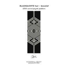peyote pattern black and white beadwork bracelet por tipikabeadwork