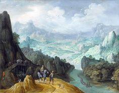 トビアス・フェルヘクト(Tobias Verhaecht 1561–1631) 「MOUNTAINOUS RIVER LANDSCAPE WITH TRAVELERS」