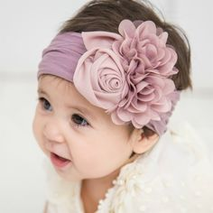 Sewing Baby Girl Couture Nylon Headwraps 15 Colors - Think Pink Bows Make Baby Headbands, Diy Headband, Floral Headbands, Baby Bows, Pink Bows, Headband Pattern, Bows For Babies, Rose Headband, Nylon Flowers