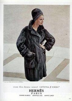 Fur coat by Hermès, L'Officiel 1963 Vintage Fur, Vintage Photos, Hermes Vintage, 1960s Fashion, Vintage Fashion, Dedicated Follower Of Fashion, Fabulous Furs, 20th Century Fashion, Hermes Paris