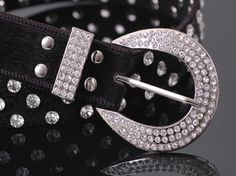 Black Women's Crystal Embeded Buckle Belt  on BuyTrends.com, only price $10.94