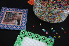 Hama beads photo frames by Camilla Tange Peylecke