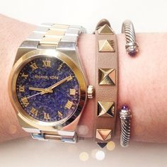 Michael Kors Two Tone Semi Precious Stone Watch Super chic and goes with everything! Gold center piece with silver outer band. Semi precious dark blue face. Brand new with tags, box, and booklet. No trades!! 012516490tmf MICHAEL Michael Kors Accessories Watches