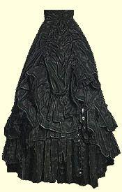 Gothic Victorian Long Satin Bustle Skirt