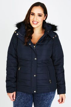 Yours Clothing Navy Puffa Coat With Fur Trim Hood
