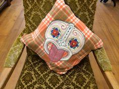 Handmade Tiki cushion (pure wool Front  Black Cotton back 24cmx24cm)