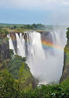 Victoria Falls, located on the border of Zambia and Zimbabwe, Africa