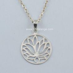 fleur de lotus et symbole de l'infini collier argent