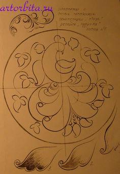Рисунок. Построение композиции в круге - хохломская роспись