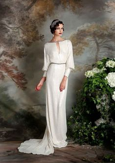 Ideas Art Deco Wedding Dress With Sleeves Bridesmaid Denim Wedding Dresses, Art Deco Wedding Dress, Groom Wedding Dress, Vintage Inspired Wedding Dresses, Vintage Dresses, Wedding Art, Grey Dresses, 1930s Wedding Dresses, Vintage Dress Wedding