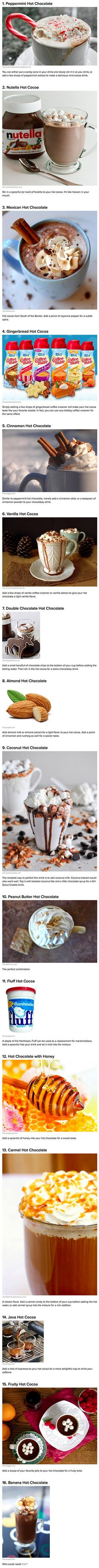16 ways to enhance your instant hot cocoa. For a delicious holiday twist.