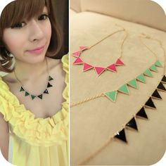 free shipping new fashion accessories neon color geometry triangle Hot short necklace gold enamel women gold trendy triangle OUM