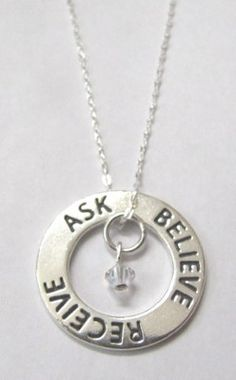 Inspirational Jewelry Ask Believe Receive by HeartProjects on Etsy, $30.95