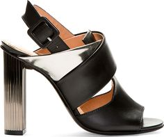 Robert Clergerie: Black & Silver Leather Delica Heels
