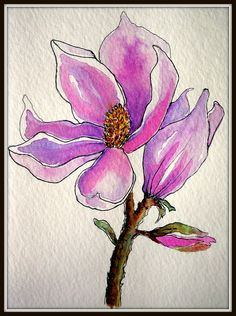 MAGNOLIA GREETINGS @ Louise Christian  This is another Birthday card for a neighbor.  Painted with Watercolor and Ink.