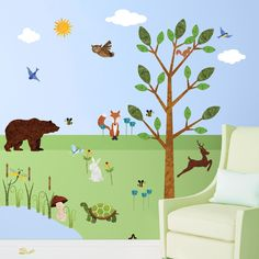 Forest Wall Sticker Set – 37 Peel & Stick Woodland Decals for Baby Nursery and Kids Forest Room