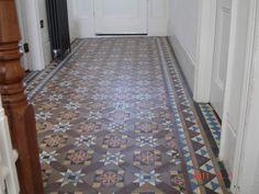 Victorian Tile Hallway floor before cleaning by Buckinghamshire Tile Doctor Victorian Hallway, Old Victorian Homes, Victorian Tiles, Victorian Interiors, Victorian House, Tiled Hallway, Front Hallway, Hallway Flooring, Entry Hall