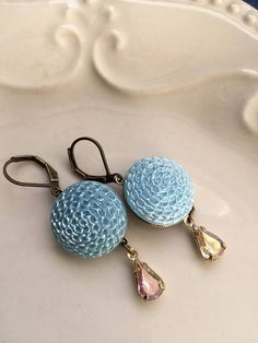 Hydrangea  Powder Blue Vintage Glass Button Earrings with