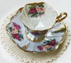 #Vintage Royal Halsey #Footed #Tea Cup & #Saucer