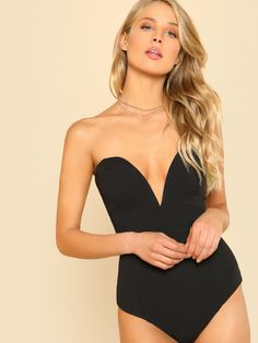 Sexy Sweetheart Bustier Bodysuit Black Sleeveless Backless Plain Rompers  With Lining Skinny Bodysuit 0e140031f15