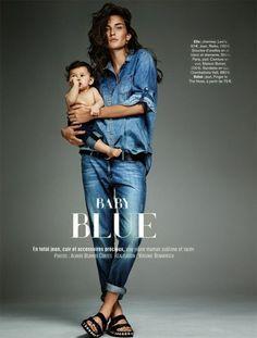 EDITORIAL - Blue denim para mães e filhos na Glamour França - www.guiajeanswear.com.br - Guia JeansWear : O Portal do Jeans