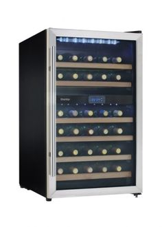 DWC113BLSDB:     The Danby free-standing wine cooler is a simple and stylish addition to any room. The all black cabinet and stainless steel trim is balanced by the rich beechwood faced shelves. The digital LED thermostat is visible through the door and controls two distinct temperature zones for red and white wine storage. The interior light creates a subtle striking ambiance.