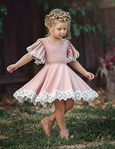 Buy Fashion Kids Baby Girl Dress Lace Floral Party Dress Pageant Bridesmaid Dress at Wish - Shopping Made Fun Dress Outfits, Kids Outfits, Casual Dresses, Short Dresses, Casual Clothes, Kid Dresses, Baby Outfits, Toddler Party Dresses, Pageant Dresses