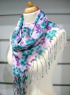 Multicolored Floral Pashmina Scarf blue/white/purple