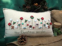 My Christmas Garden Pillow Cottage Style by PillowCottage on Etsy, $25.00