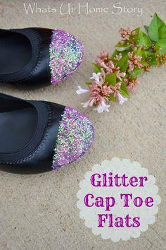 Glitter cap toe flats