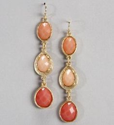 3 Faceted Stone Drop Earrings #jewelry www.theblush.com