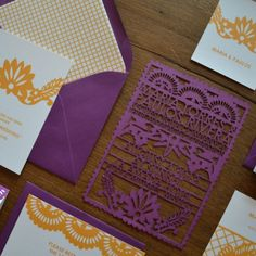 Lasercut invitations by Avie Designs via Oh So Beautiful Paper.
