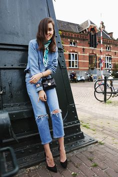 spring / summer - street style - street chic style - casual outfits - summer outfits - denim on denim - double denim - medium wash ripped crop jeans + medium wash denim shirt + blue bandana + black bum bag + black suede stilettos