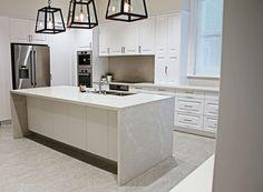 Kerry Selby Brown Design featuring Caesarstone Alpine Mist island bench top.