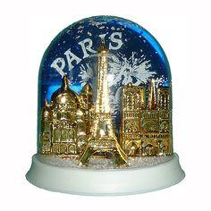 paris festive snowglobe - made in france