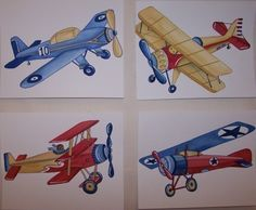 Vintage AIRPLANES  planes little aviator kids ART by terezief, $20.00