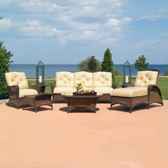 Shop this lloyd flanders grand traverse wicker lounge set from our top selling Lloyd Flanders lounge sets. PatioLiving is your premier online showroom for patio lounge and high-end outdoor furniture. Classic Outdoor Furniture, White Wicker Furniture, Weathered Furniture, Deck Furniture, Outdoor Furniture Sets, Living Furniture, Quality Furniture, Furniture Design, Harris House