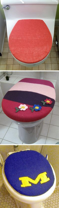 Free Knitting Pattern for Toilet Lid Cover - Cover knit in worsted weight yarn. Use duplicate stitch to add your designs.Designed by Allyson Dykhuizen. Pictured projects by khakydel, werwuffi who added crocheted flowers, and sweatshopoflove who added the U of M logo