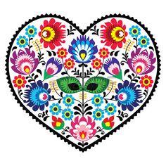 Polonais art populaire art coeur broderie de fleurs - Lowickie Wzory