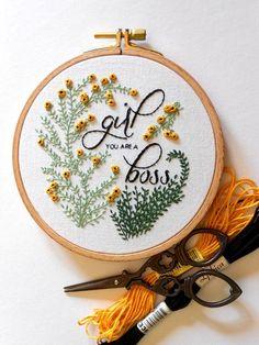 Girl Boss Feminist Wall Art Flower Embroidery Hoop Art Girl