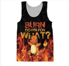 Women/Men original Cartoon Pokemon Charmander Burn Down 3D Print Vest Tank Tops #UnbrandedGeneric #BasicTee