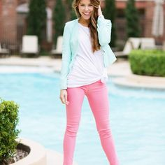 Hazel and Olive Women's City Chic Blazer in Mint cute outfit for spring