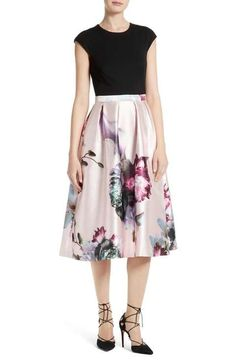1d963fbd30460f Ted Baker London Carsyn Ethereal Posie Mixed Media Midi Dress Womens  Cocktail Dresses