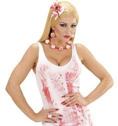 Kit bijoux yeux ensanglantés femme Halloween : Ce kit de bijoux sanglant se compose d'une paire de boucles d'oreilles et d'un collier. Le collier est composé de 7 yeux en polystyrène blanc. Ils sont recouverts d'un...
