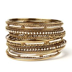 Sanaa Bangle Set (€67) ❤ liked on Polyvore featuring jewelry, bracelets, hinged bangle, gold tone jewelry, amrita singh bangles, bracelets bangle and amrita singh jewelry