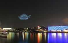 smart atoms spaxels by ars electronica draw 3D images in the night sky - designboom | architecture