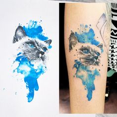 Watercolor realistic cat portrait tattoo design - designed by Rare Aesthetic Works, amazingly tattooed by Anna at Warren Tattoo, Hollywood