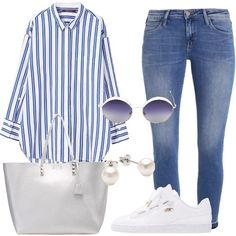 Comfortable all day: Basic woman outfit for school / university and every day Jeans And Sneakers Outfit, Sneakers Outfit Summer, Casual Summer Outfits, Mom Outfits, Outfits For Teens, Fashion Outfits, Womens Fashion, Flattering Outfits, Mode Jeans